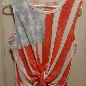 Fifth Sun American Flag Crop Knotted Tank Top